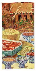 Gourmet Cover Featuring Various Indian Dishes Beach Towel