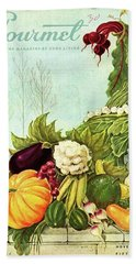 Gourmet Cover Illustration Of A Cornucopia Beach Towel