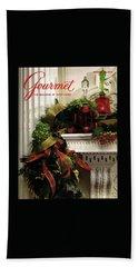 Gourmet Magazine Cover Featuring Christmas Garland Beach Towel