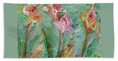 Beach Towel featuring the painting Grace's Garden by Mary Wolf