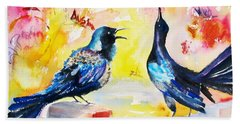 Grackles And Graffiti  Beach Towel