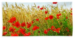 Grain And Poppy Field Beach Towel