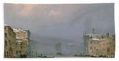 Grand Canal With Snow And Ice Beach Towel