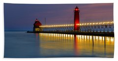Grand Haven South Pier Lighthouse Beach Towel
