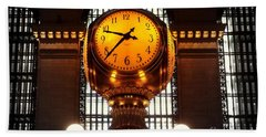 Grand Old Clock At Grand Central Station - Front Beach Towel