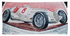 Grand Prix De Monaco 1936 Vintage Postage Stamp Print Beach Sheet by Andy Prendy