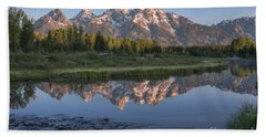 Grand Teton Awakening Beach Sheet by Sandra Bronstein