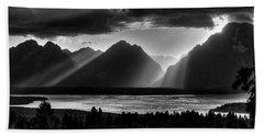 Grand Teton Light Beams Beach Towel