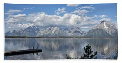 Beach Towel featuring the photograph Grand Tetons In The Morning Light by Belinda Greb
