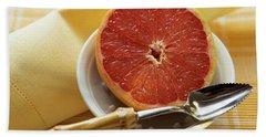 Grapefruit Half With Grapefruit Spoon In A Bowl Beach Towel
