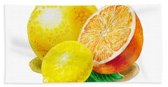 Grapefruit Lemon Orange Beach Towel by Irina Sztukowski