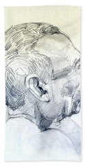 Beach Towel featuring the drawing Graphite Portrait Sketch Of A Man In Profile by Greta Corens