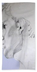 Beach Towel featuring the drawing Graphite Portrait Sketch Of A Young Man In Profile by Greta Corens