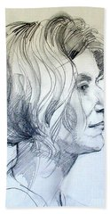 Portrait Drawing Of A Woman In Profile Beach Towel
