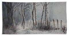 Beach Towel featuring the painting Gray Forest by Rachel Hames