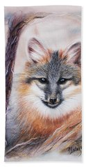 Beach Towel featuring the drawing Gray Fox by Patricia Lintner