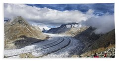 Great Aletsch Glacier Swiss Alps Switzerland Europe Beach Towel