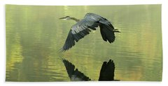 Great Blue Fly-by Beach Towel