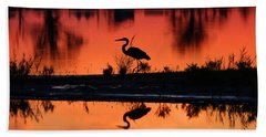 Great Blue Heron At Sunrise Beach Towel