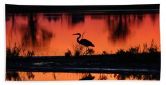 Great Blue Heron At Sunrise Beach Towel by Allan Levin