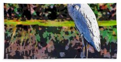 Great Blue Heron At The Pond Beach Towel
