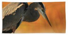 Great Blue Heron Focus Beach Towel