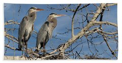 Great Blue Heron Mates Beach Sheet