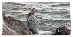Beach Towel featuring the photograph Great Blue Heron by Trina  Ansel