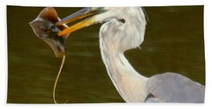 Great Blue Heron With Stingray Beach Sheet by Myrna Bradshaw