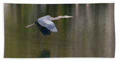 Beach Towel featuring the photograph Great Blue Over Green by Paul Rebmann