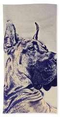 Great Dane- Blue Sketch Beach Sheet by Jane Schnetlage