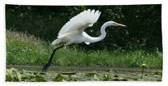 Great Egret Elegance   Beach Towel