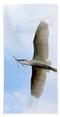 Great Egret In Flight Beach Sheet