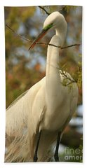 Great Egret Impressions Beach Towel