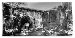 Great Falls In The Winter Beach Towel
