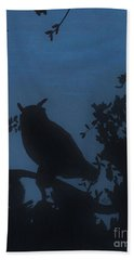 Beach Towel featuring the drawing Owl At Night by D Hackett