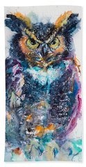 Great Horned Owl Beach Towel