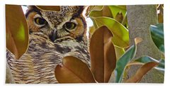 Beach Sheet featuring the photograph Great Horned Owl by Meghan at FireBonnet Art