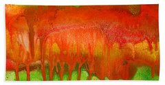 Green And Orange Abstract Beach Towel