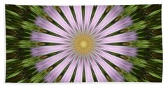 Green And Purple Starburst Beach Towel