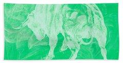 Green Bull Negative Beach Towel