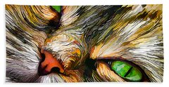 Green-eyed Tortie Beach Towel
