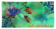 Green Hibiscus Mural Wall Beach Towel by Claudia Ellis
