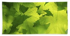 Green Maple Leaves Beach Towel