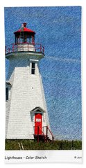 Green Point Light - Color Sketch Beach Towel
