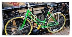 Green Schwinn Bike  Nyc Beach Towel