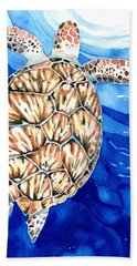 Green Sea Turtle Surfacing Beach Towel