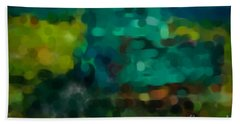 Green Truck In Abstract Beach Towel