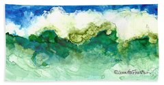 Beach Sheet featuring the painting Green Wave by Joan Hartenstein