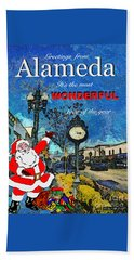 Alameda Christmas Greeting Beach Towel by Linda Weinstock